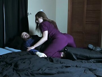 Wicked take responsibility for pees on her patient together just about smothers him just about her pussy